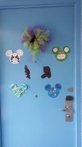Door decorations from a trip in 2014. Some of our favorite characters and a giant bow!